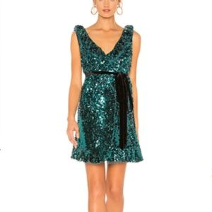 Free People Sequin Siren Mini Dress Green 6